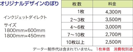 のぼり価格表